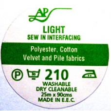 AP210 - Light Sew In Interfacing 90cm 25m roll White