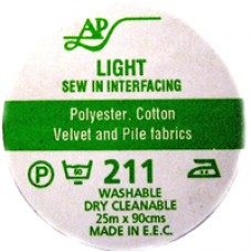 AP211 - Light Sew In Interfacing 90cm 25m roll Charcoal