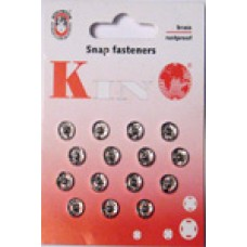 0N - Snap fasteners size 0 silver packs of 20 cards